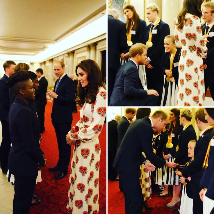 The Duke and Duchess of Cambridge and Prince Harry were on hand to honor Team GB Olympic and Paralympic medalists at the Queen's London residence. The Royal trio chatted with Olympians, looking at their gold medals. How adorable is Harry getting down on one knee---love him. Catherine of course, looks gorgeous in Alexander McQueen. #britishmonarchy #britishroyals #catherineofcambridge #duchessofcambridge #katemiddleton #princewilliam #dukeofcambridge #princeharry #teamgb #alexandermcqueen