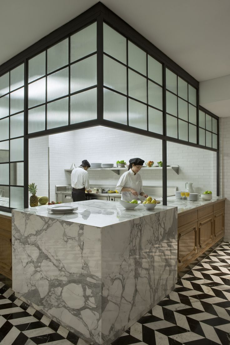 residential kitchen inspired marble counters stunning chevron marble floor four seasons elena restaurant - Restaurant Open Kitchen Design