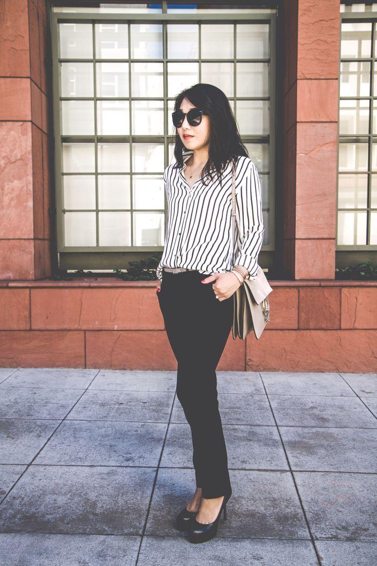 c0e2917f79e63 H M black   white striped blouse