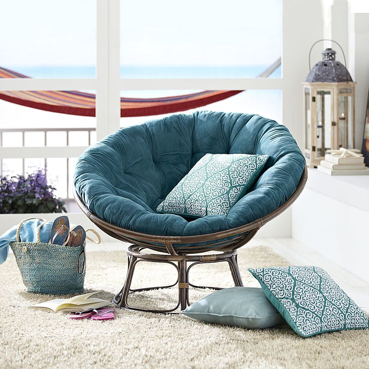 Plush teal papasan cushion the o 39 jays plush and cushions for Teal reading chair