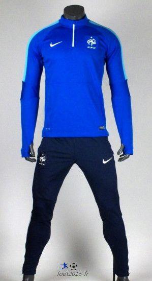 Promo Nouveau survetement equipe de foot France Bleu 2015 2016 pas cher Thailande pas chere