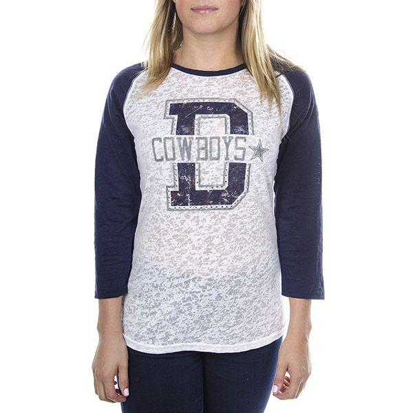Dallas Cowboys Bling Raglan Tee   Dallas Cowboys Clothing   Dallas Cowboys Store - Dallas Cowboys Pro Shop