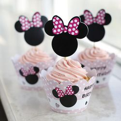 Online Shop Бесплатная доставка микки маус торт чашки выбирает ботворезы монограммой украшение для ну вечеринку выступает дети на день рождения, бумага кекс обертки Aliexpress Mobile