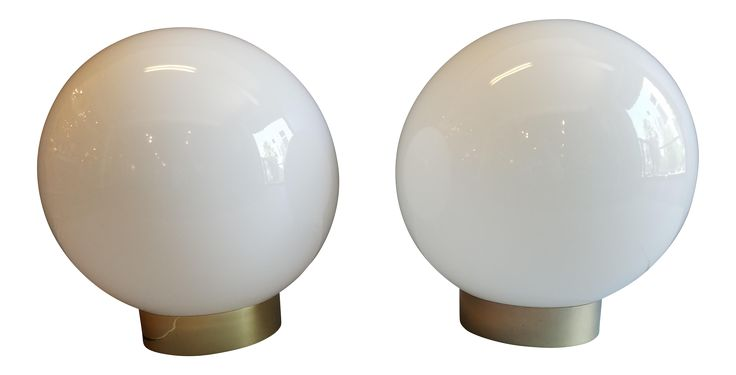 Large Glass Globe Table Lamps - A Pair on Chairish.com