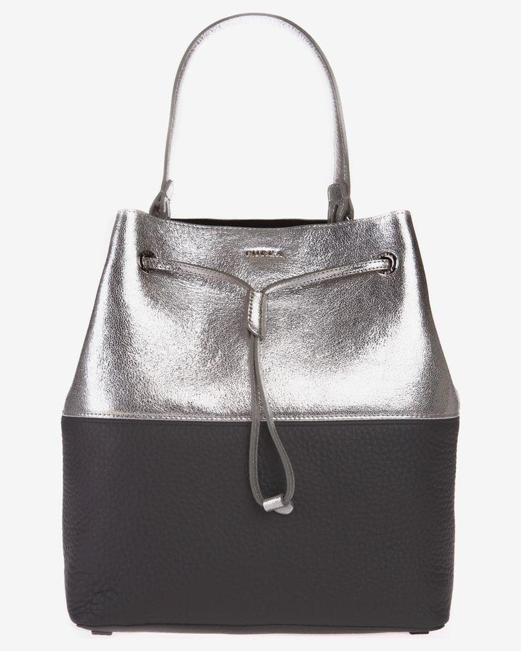 Geanta rucsac piele argintiu cu negru Furla