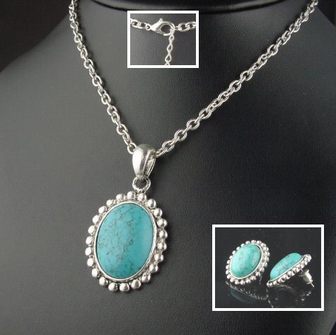 BOLD ANTIQUED SILVER SOUTHWEST TURQUOISE NECKLACE & EARRING SET