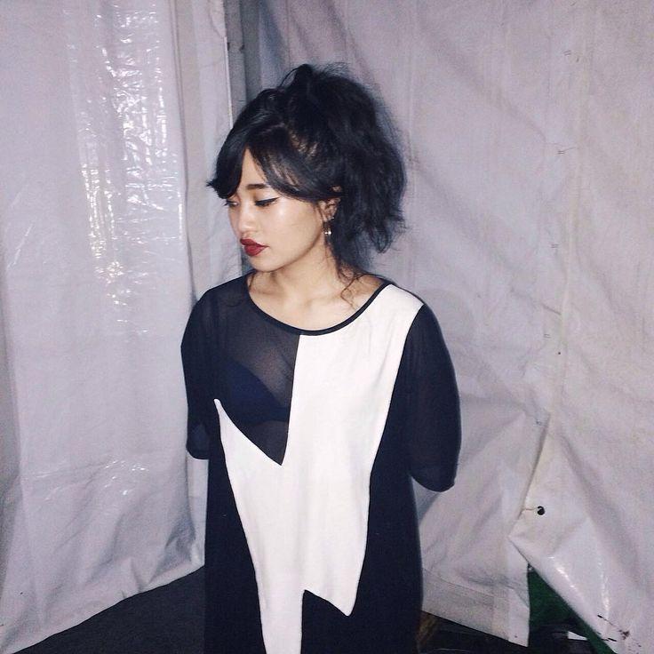 """Rahajeng wearing Lightning mesh tee.   http://pasar-pasar.com/collections/lmt-urban-streetwear/products/lmt-oversized-lightning-tee"