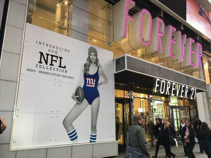 Nfl promotion at forever21 uses large format printed adhesive vinyl print install · large format printingwindow graphicsvinyl