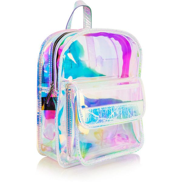 Clear Holo Backpack ($50) ❤ liked on Polyvore featuring bags, backpacks, clear zip bags, holographic backpack, snap bag, day pack backpack and crystal clear bags