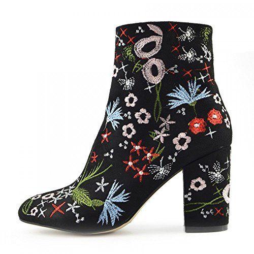 Ladies Floral Print Multi Colour Ankle Boot Block High Heel Celeb Shoes: Amazon.co.uk: Shoes & Bags