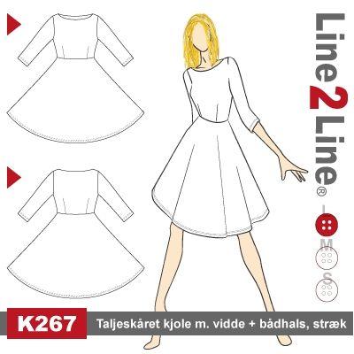 Taljeskåret kjole med vidde + bådhals, stræk