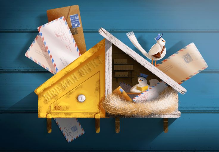 Bird mail office! Digital Illustration