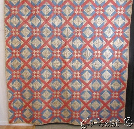 Welcome Spring in Pink Blue 20 30s Touching Stars Lattice Quilt Oh So Cottage | eBay