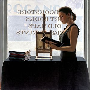 """Bookstore"" ~  Iain Faulkner (Scottish, born 1973)"