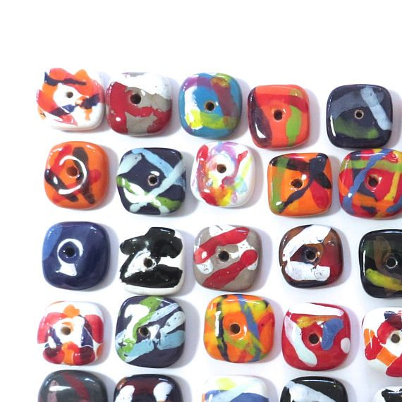 Kazuri Beads in rainbow colours are 3/4 of an inch wide and 1/4 of an inch thick. They are a wonderful bag of 50 beads which are great to mix with other shapes and sizes or for making bangles. This listing is for the exact Kazuri beads you see in the photo. My main job is making jewellery using these beautiful Kazuri beads, however over the last seven years I have many beads which I am no longer using in my designs. I am selling these at less that $1 each just to recoup some of my o...