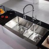 "Found it at Wayfair - Kitchen Combo 36"" x 25.5"" Double Bowl Stainless Steel Kitchen Sink with Faucet"