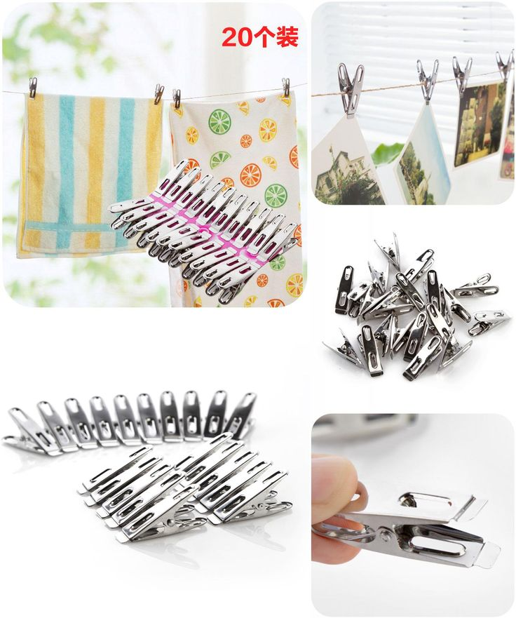 [Visit to Buy] Wind laundry folder thick stainless steel 20pcs, drying clothespin strong food clip #Advertisement