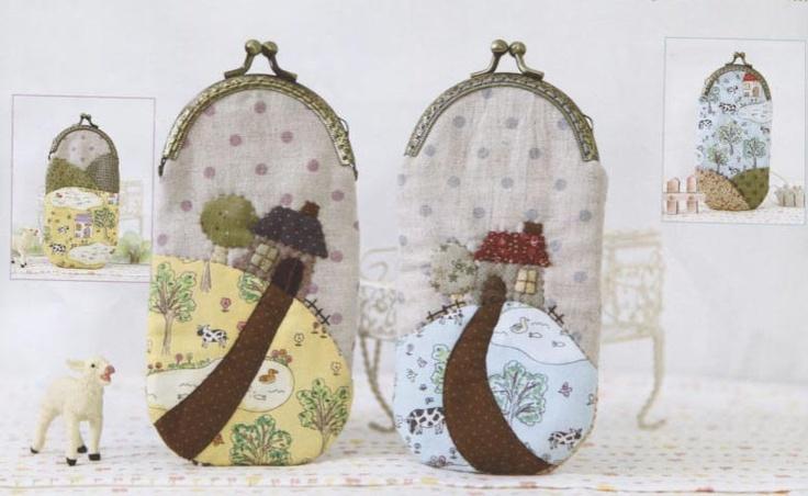 2 style mini farm coin purse Bag Handbag Wallet hand embroidery stitch sewing applique patchwork quilt PDF pattern E Patterns ebook. via Etsy.