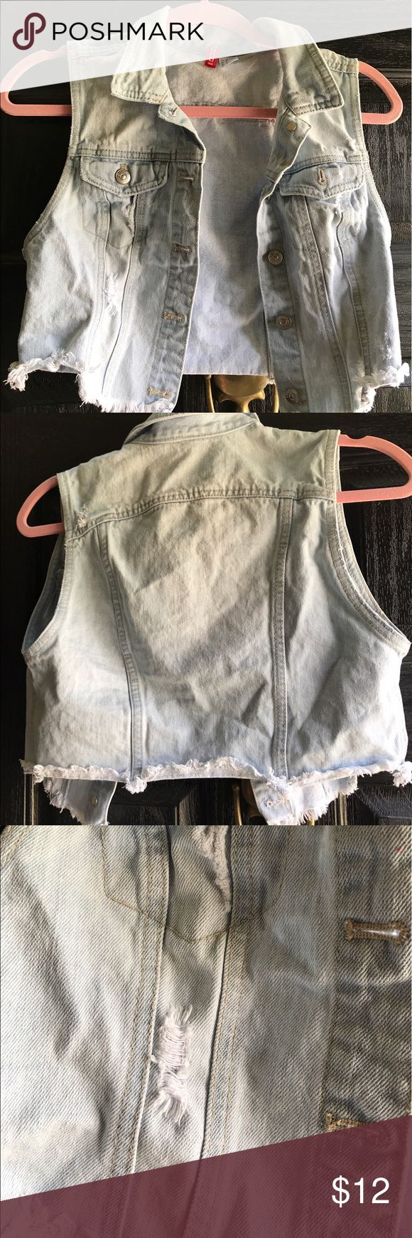 Distressed Denim Vest Denim vest by H&M with frayed hem for distressed look. Worn rarely so in excellent condition. Like new. H&M Jackets & Coats Vests