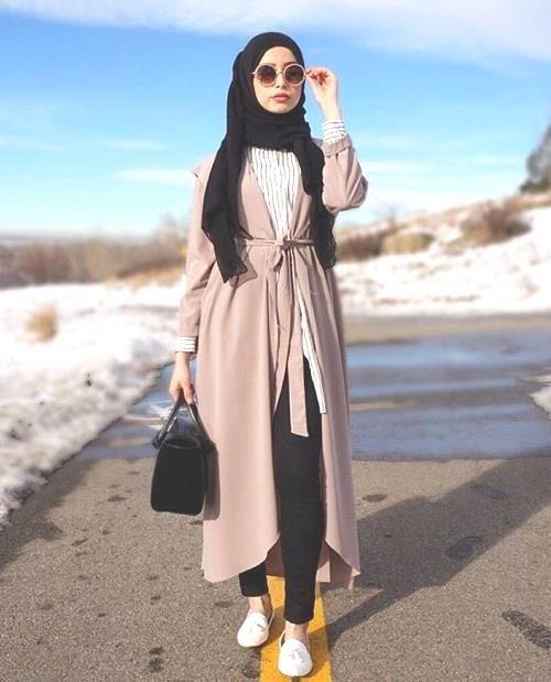 beige long coat hijab style