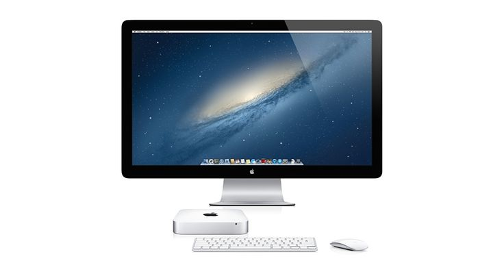 Mac mini with Thunderbolt display, keyboard and mouse.
