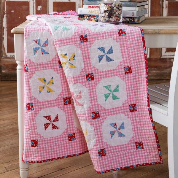 """The Breezy Buttons Quilt shows how on-trend heirloom quilts can be. Cut pieces FAST & EASY with the 6"""" GO! Qube! Get the pattern FREE!"""