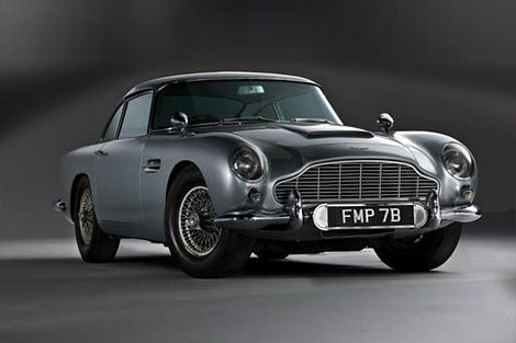 Yes, this is yer actual Aston Martin DB4 1964 as driven by Sean Connery as James Bond in the movies Goldfinger and Thunderball