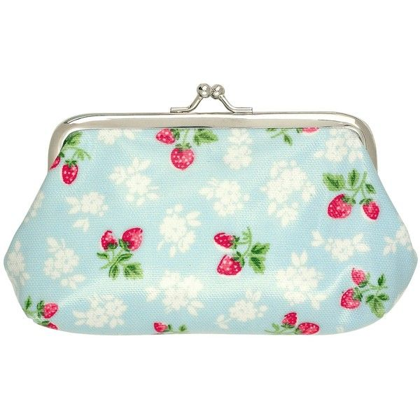 Cath Kidston Strawberry Fields Clasp Purse ($12) ❤ liked on Polyvore featuring bags, cath kidston bag, clasp handbags, cath kidston purse, clasp closure handbags and vintage bag