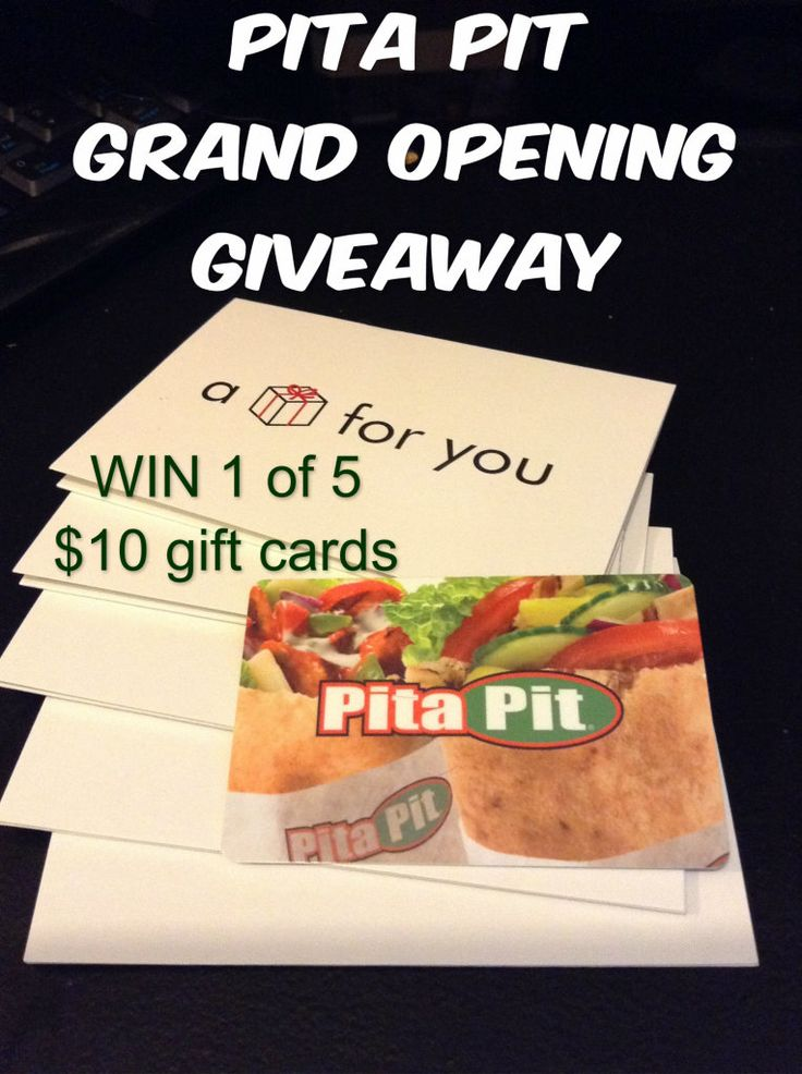 Enter to win 1 of 5 Pita Pit Gift cards 04/10 Canada only