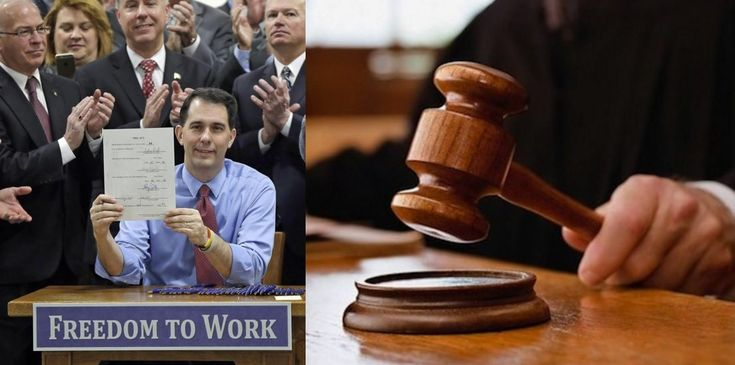 "BREAKING: Judge Strikes Down Scott Walker's ""Right-To-Work"" Law As Unconstitutional Workers and labor unions just won a HUGE victory in Wisconsin."