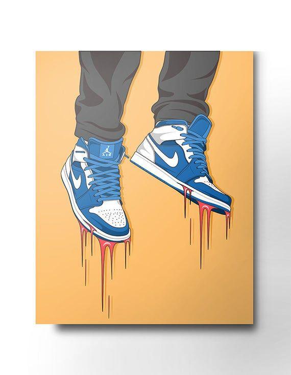 Nike Air Jordan 1 Retro sneakers PRINTED AND FRAMED SYNTHETIC ...