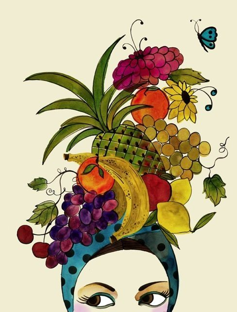 Today while perusing Pinterest I came across this absolutely fabulous fruit hat drawing.  The artist is London-based illustrator Trisha Krauss.  This image, and more fantastic stuff, may be found on her website.  Hope you enjoy as much as I did!