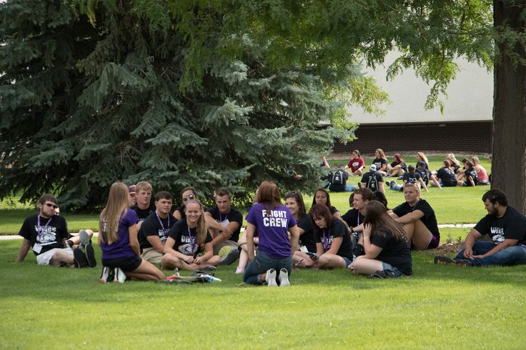 Groups of incoming Chadron State College students discuss expectations for their first year at CSC during New Student Orientation small group sessions Thursday, Aug. 18, 2016 (Photo by Tena L. Cook/Chadron State College)