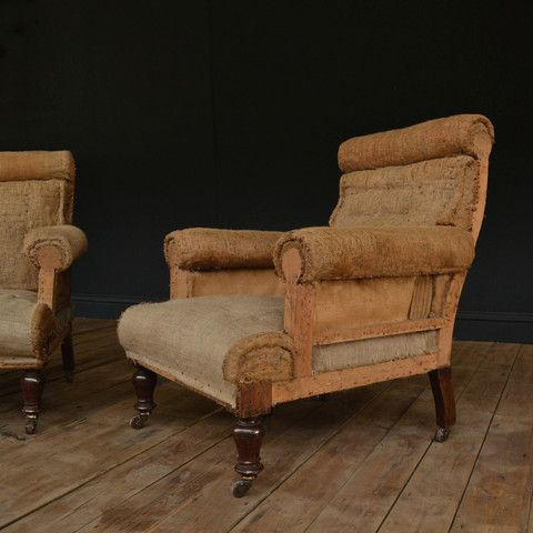a pair of 19th century english country house armchairs upholstery inc hunter and rose
