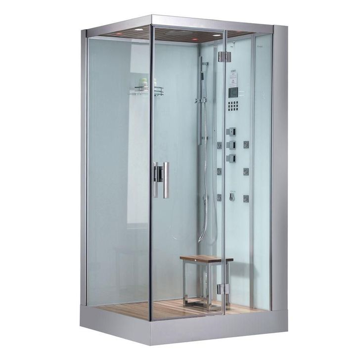 Ariel 47 in. x 35.4 in. x 89 in. Steam Shower Enclosure Kit in White #SteamShowerEnclosure