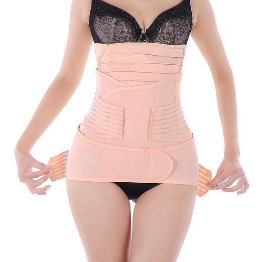 EQMUMBABY Postnatal Erholung Streifen Bauchgurt Hüftgurt Beckengurt Gürtel Body Slimming Form Fitnessband Shaping 3 in 1 - Größe L