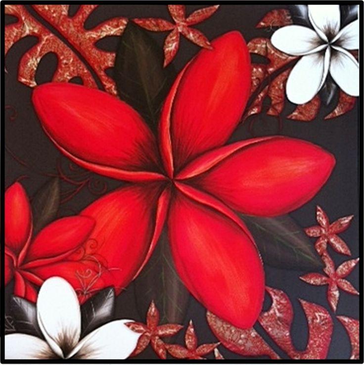 The Gecko Shack - 800 x 800 Australian Made RED FRANGIPANI canvas, $249.00 (http://www.geckoshack.com.au/800-x-800-australian-made-red-frangipani-canvas/)