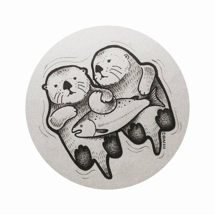 Float with me #tattoo #tattooartist #tattoodesign #customdesign #otters #float #salmon #love #design #designer #minimalist #dotwork #blackwork