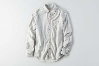 AEO Solid Heathered Twill Shirt by  American Eagle Outfitters | A classic shirt redefined in soft heathered twill.  Shop the AEO Solid Heathered Twill Shirt and check out more at AE.com.