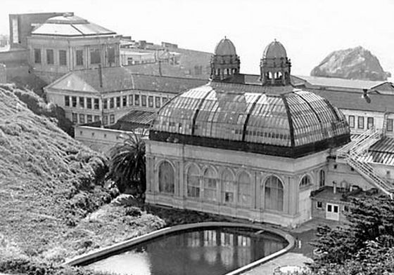 The Sutro Baths in the 1900s were located along Lands End, San Francisco's wildest and rockiest coastline.