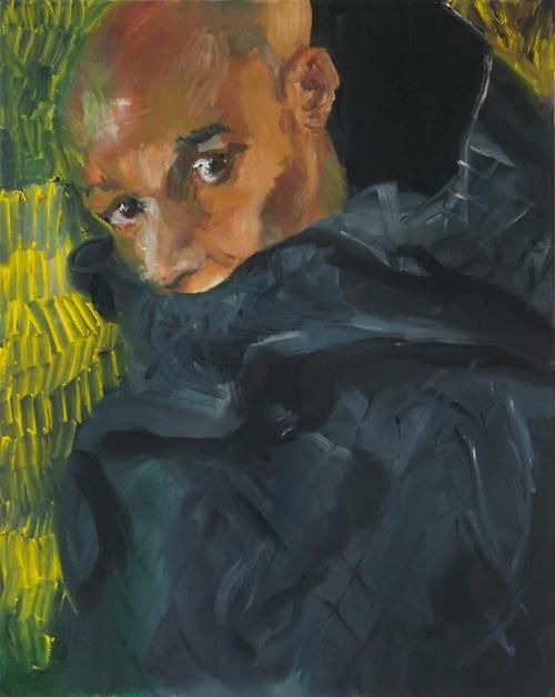 Rainer Fetting - Desmond with hood (Zoran), 2011, Oil on canvas, 100 x 80 cm.  //at Egbert Baqué Contemporary Art, Berlin: Take A Walk On The Wild Side. To Russia with Love. And to Lou Reed.