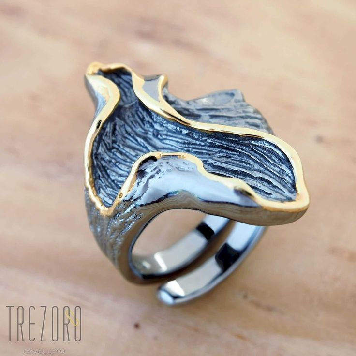 Oxidised Black Sterling Silver Gold Plated  ||  Modern Desing   ||  Trezoro Jewellery Online Store
