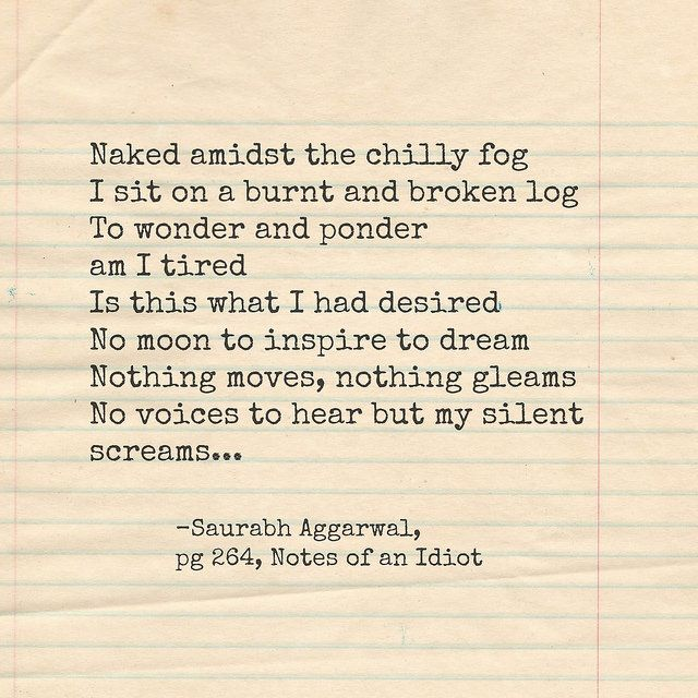 #short #poem from the book 'Notes of an idiot ' by Saurabh Aggarwal