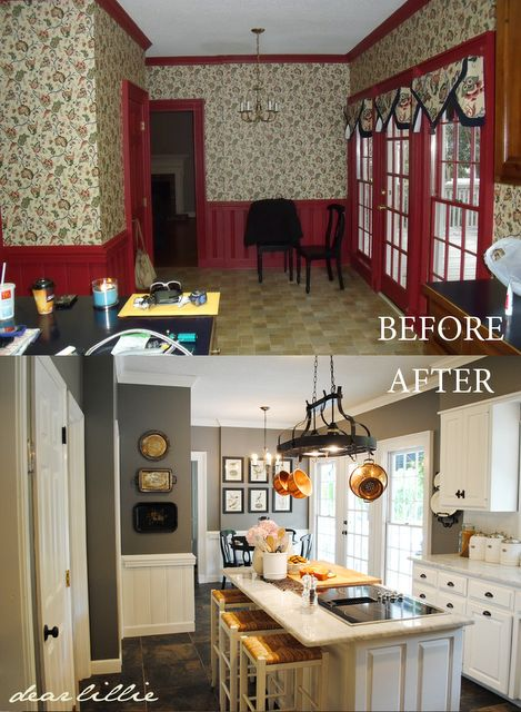 Dear Lillie: Matt and Meredith's HUGE Kitchen Makeover - tips at the end of the post about painting over wallpaper!