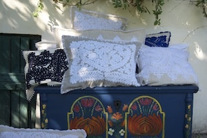 Embroidered linen cushions from Transylvania