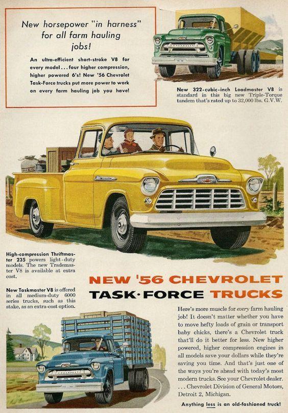 1956 Chevrolet Task Force trucks.