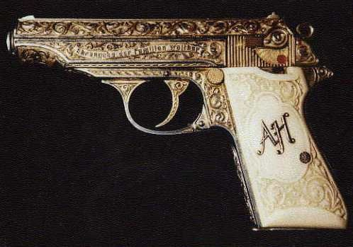 """fuhrer3345:  """" germanguns:  """" One of Adolf Hitler's pistols.  I believe this is a Walther PP.  """"  When Hitler was at the front he often wore a holstered pistol for his personal safety. Here is a rare photo of him wearing a holster near the Polish..."""