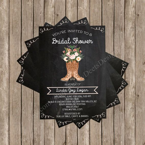 This water color boot bouquet bridal shower invitation is perfect for the bride-to-be who loves rustic chic boots and flowers. This is a