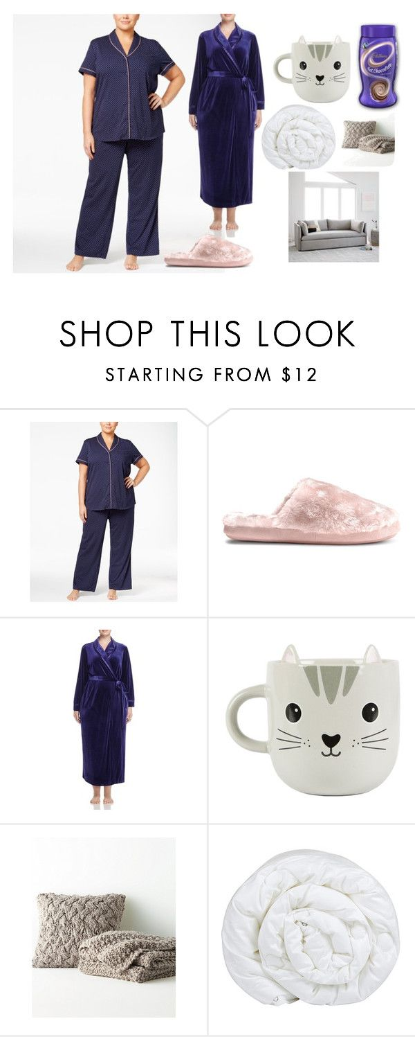 """duvet kind of day!"" by alternageek ❤ liked on Polyvore featuring Nautica, Oscar de la Renta Pink Label, CO, Sass & Belle, Eileen Fisher, Brinkhaus, West Elm and plus size clothing"