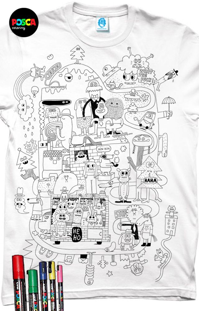"""HEY !!! If you like it VOTE FOR ME :)   by clicking on """"je le veux"""" /// Contest """"pimp my tee"""" (Mr Poulet-Posca) a T-shirt to be colored by yourself with posca. by Delphine Durand"""